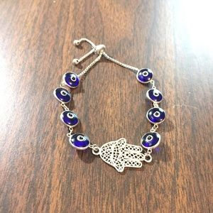 "Jewelry - Sterling silver ""evil eye"" adjustable bracelet"